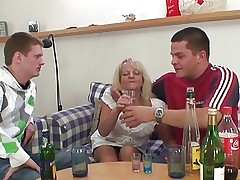 Partying guys nail blonde grandmother video