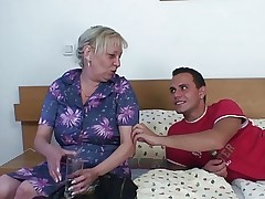 Blonde old granny is doggystyle fucked video