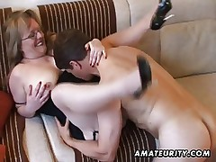 Busty amateur Milf sucks and fucks with cum on tits video